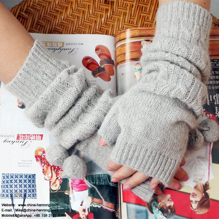 New Women Keep Warm Lengthen Half-finger Gloves Pure Color Knitted Gloves Wholesale