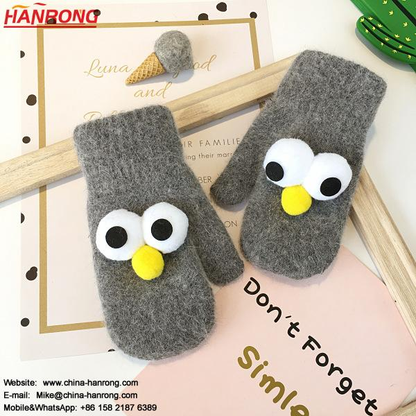 Korean Style Winter Thicken Keep Warm Cartoon Doll Knitted Outdoor Children Gloves