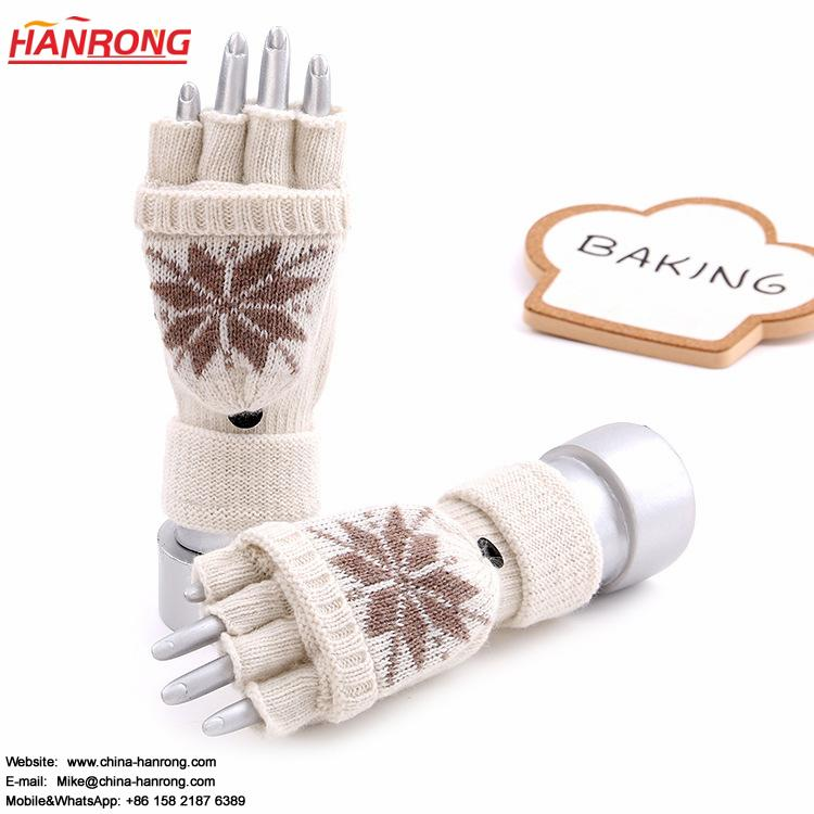 Students Winter Protection Flower Pattern Flap Half-finger Pure Color Knitted Gloves