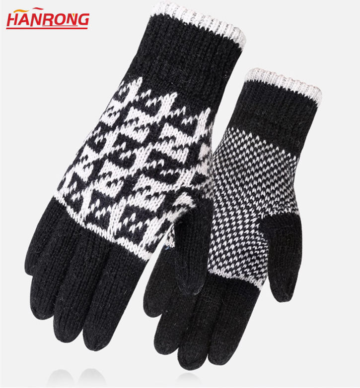 Fashion Knitted Keep Warm Gloves Double Thickening Embossing Wool Knitting Gloves