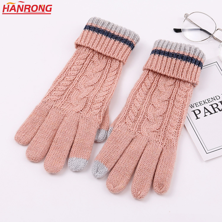 European New Winter Gloves Double Thickening Wool Twist Knitting Gloves Wholesale
