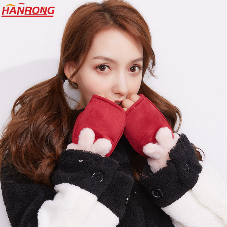Winter New Keep Warm Thickening Fur One Chamois Neck Rope Mittens Wholesale