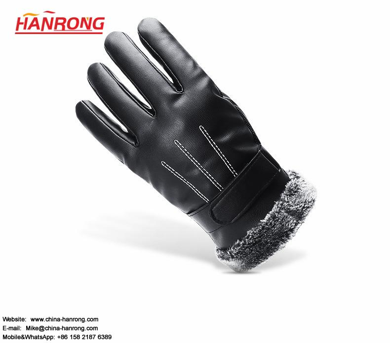 Winter Ourdoor Sports Waterproof Gloves Windproof Brushed Leather Gloves Wholesale