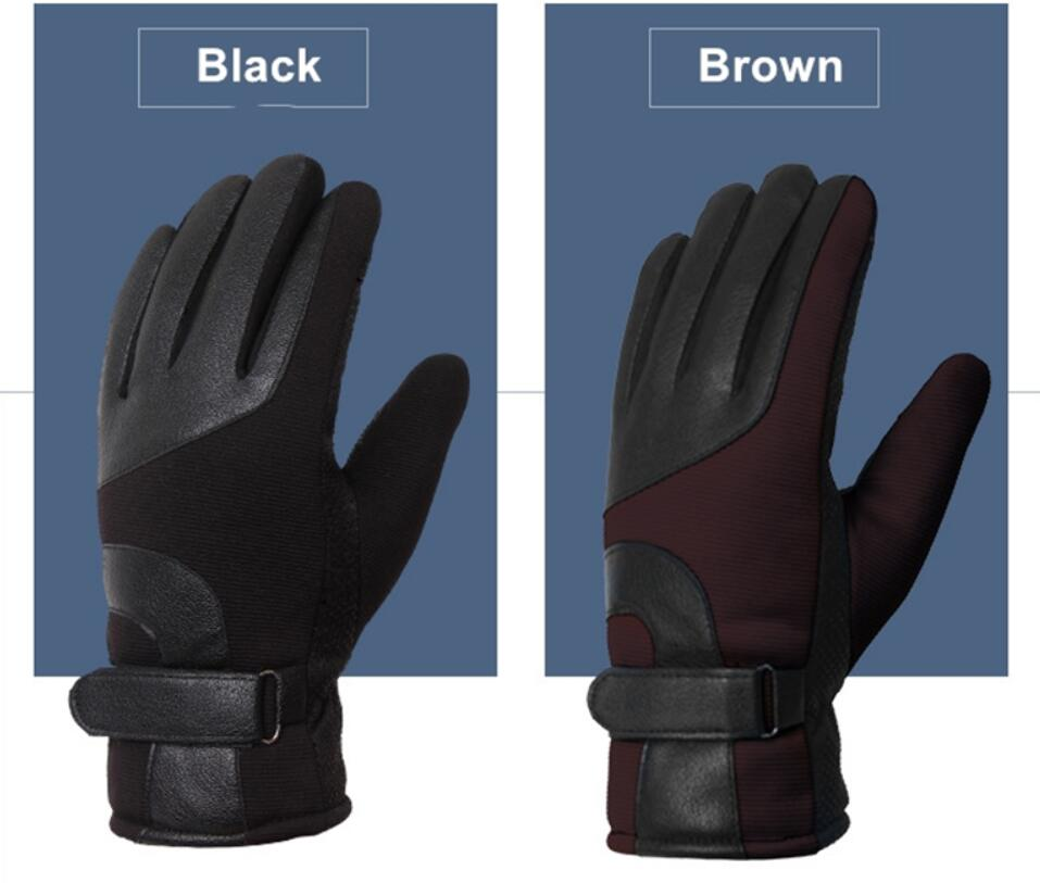 Fashion Classic Keep Men Warm Gloves Ourdoor Waterproof Windproof PU Leather Gloves
